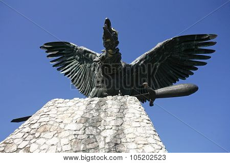 Statue of the famous hungarian legendary Turul bird against blue sky poster