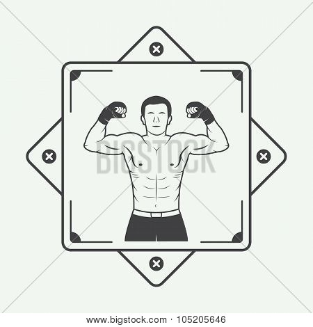 Boxing And Martial Arts Logo, Badge Or Label In Vintage Style
