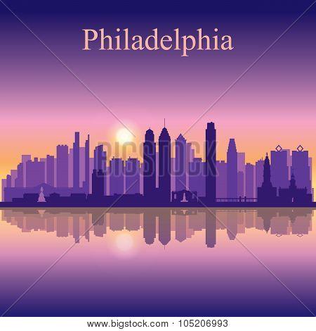 Philadelphia City Skyline Silhouette Background