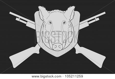 boar head hunting-contour