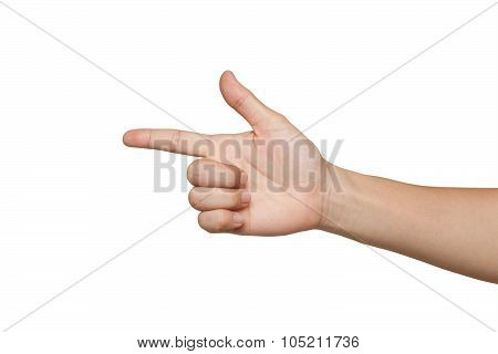 Hand With Finger Up Isolated On White