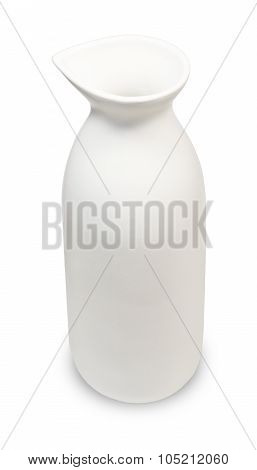 Cuisine and Food Japanese Traditional Style of White Ceramic Sake Bottle for Served Japanese Rice Wine Isolated on White Background. poster