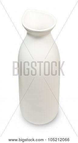 Cuisine and Food A Japanese Traditional Style of White Ceramic Sake Bottle for Served Japanese Rice Wine Isolated on White Background. poster
