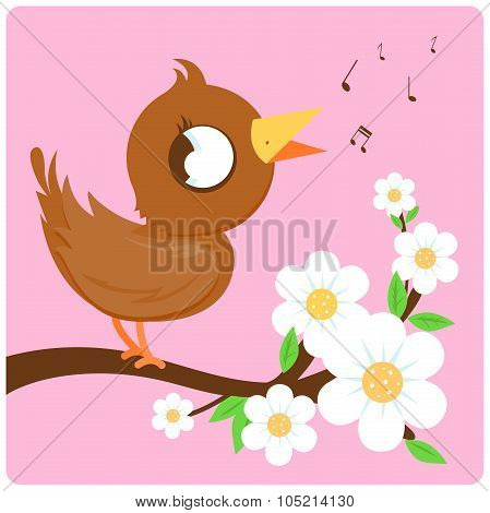 Cute bird on a blossoming branch singing