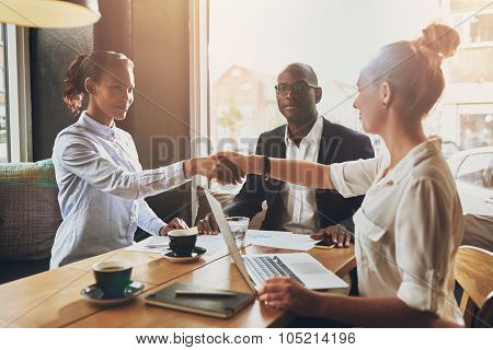 Black Business Woman And White Business Woman Shaking Hands