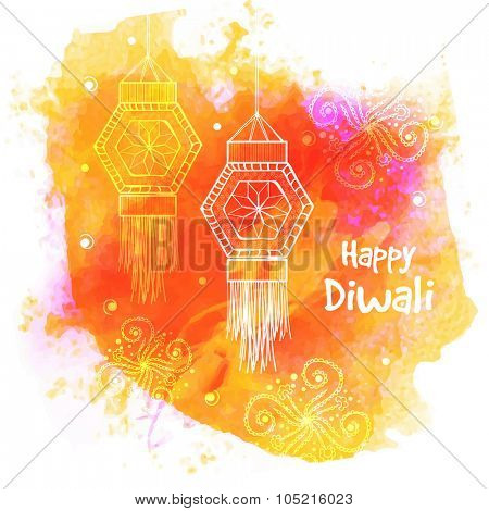 Indian Festival of Lights, Happy Diwali celebration with hanging lamps on floral decorated colourful splash background.