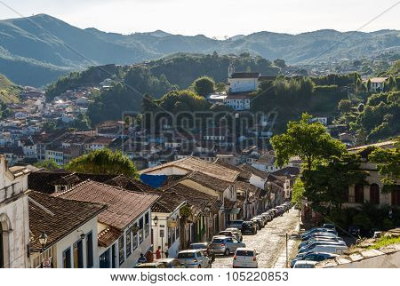 OURO PRETO, BRAZIL - CIRCA OCTOBER 2015: Antique houses in Ouro Preto, Minas Gerais, Brazil
