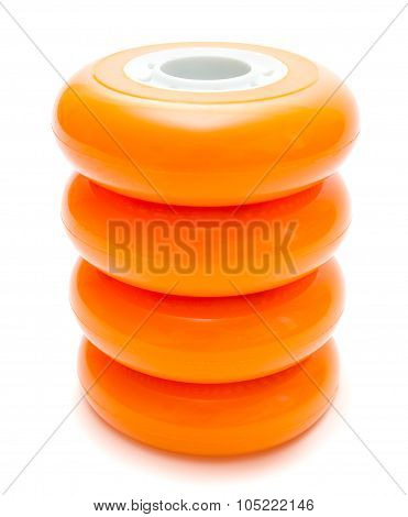 Orange Wheels Isolated Over White Clipping Path