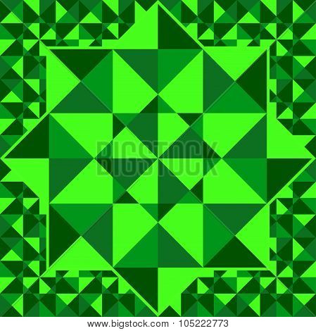 Emerald  Pattern Of Geometric Shapes Of Triangles..