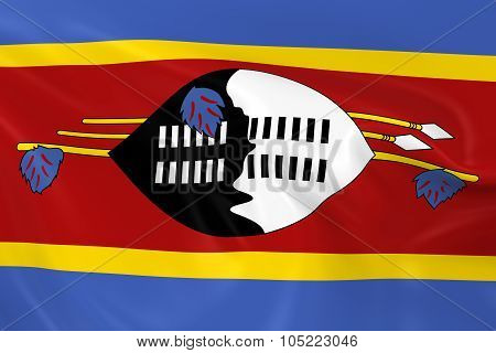 Waving Flag Of Swaziland - 3D Render Of The Swazi Flag With Silky Texture