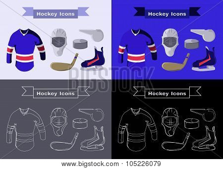 Hockey Sportswear Illustration. Helmet with Hockey-stick and Pullover and Puck and Whistle. Hockey Game Accessories Digital Vector Illustration. poster