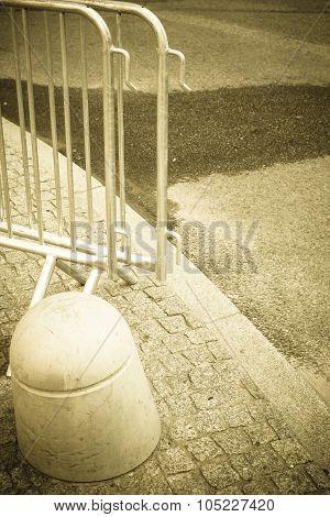Metallic Barrier On The Street