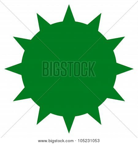Bacterium vector icon. Style is flat symbol green color rounded angles white background. poster