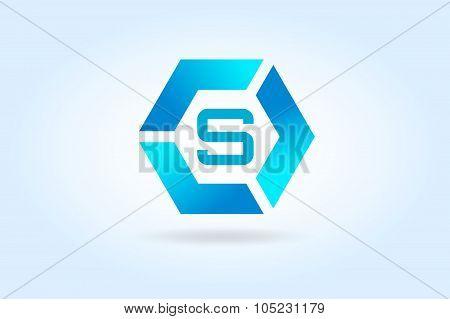 S letter vector icon template. Super symbol silhouette