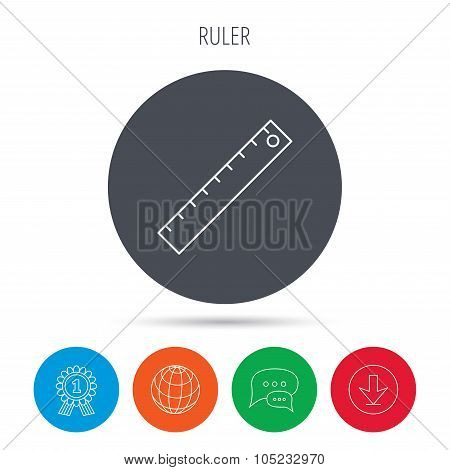 Ruler icon. Straightedge sign.