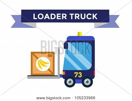 Vector forklift loader with wooden boxes