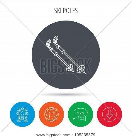 Skiing icon. Ski sticks or poles sign.