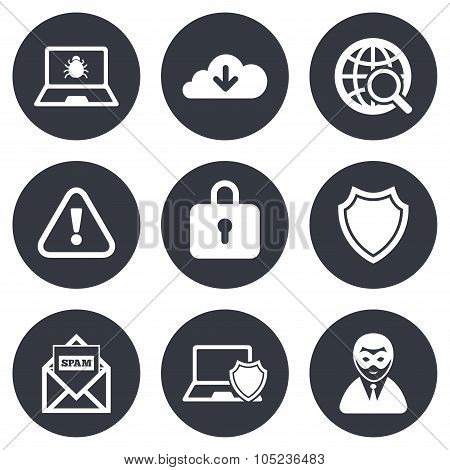 Internet privacy icons. Cyber crime signs. Virus, spam e-mail and anonymous user symbols. Gray flat circle buttons. Vector poster