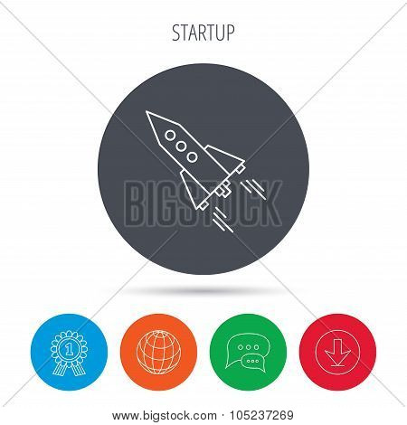 Startup business icon. Rocket sign. Spaceship shuttle symbol. Globe, download and speech bubble buttons. Winner award symbol. Vector poster