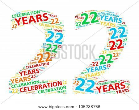 Colorful word cloud for celebrating a 22 year birthday or anniversary