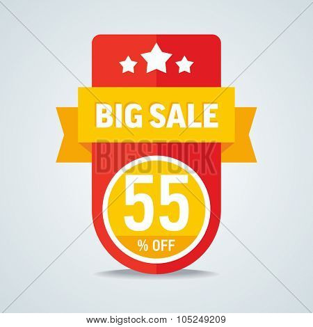 Big sale of 55 percent of the label with a yellow ribbon. Vector illustration.