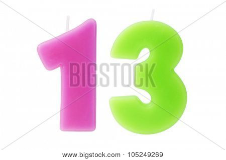 Colorful birthday candles in the form of the number thirteen on white background