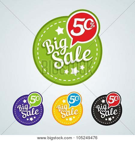 Big sale of 50 percent of the round label. Vector illustration in different colors.