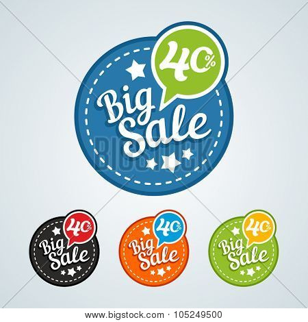 Big sale of 40 percent of the round label. Vector illustration in different colors.