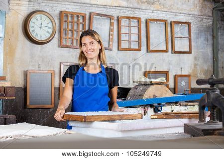 Portrait of smiling mid adult female worker with mold at paper factory poster