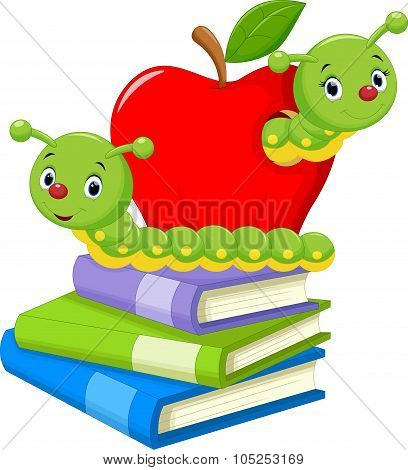 Illustration of book worm cartoon