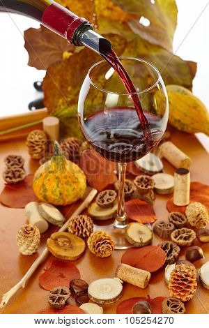 Pouring red wine from bottle to glass at vintage time among autumn decoration.