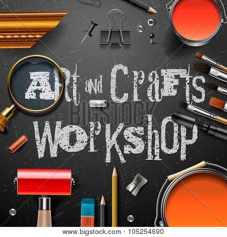 Art and crafts template with artist tools