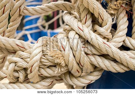 Rope And Knot On Background. Outdoor view