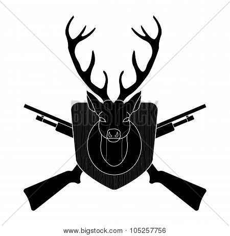 Hunting trophy deer head black silhouette