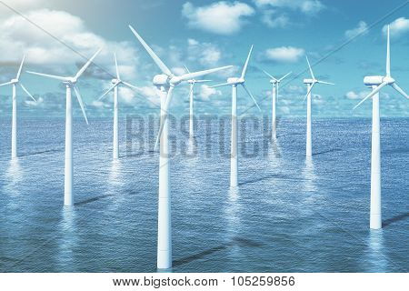 Windmills In The Water With Sky Background