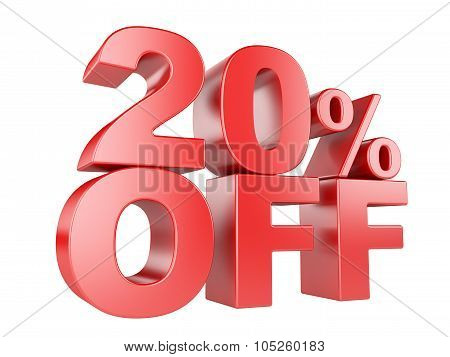 20 Percent Off 3D Icon.