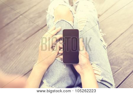 Girl With Smartphone, Vintage Photo Effect