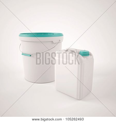 White plastic jerrycan and pail