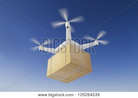 Quadcopter deliveries a box in the blue sky poster