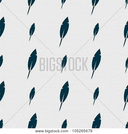 Feather Sign Icon. Retro Pen Symbo. Seamless Abstract Background With Geometric Shapes. Vector