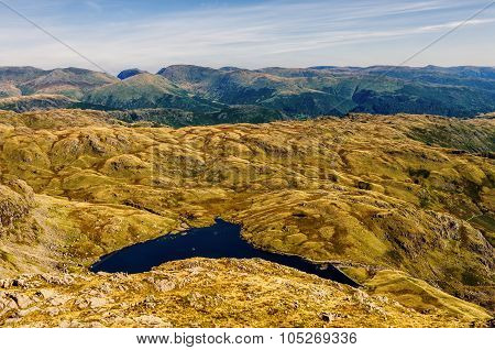 Glaciated mountain landscape in Langdale.