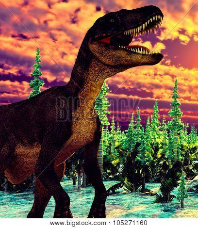 Prehistoric landscape with big dinosaur poster