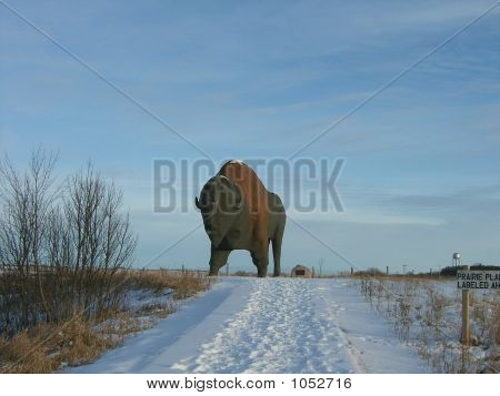 world's largest giant buffalo statue located in jamestown north dakota among the snow **Note, slight graininess, best at small sizes. poster