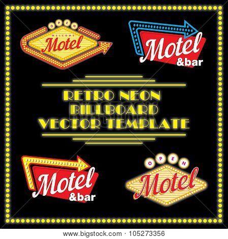 Retro Neon Motel Billboard Vector Template