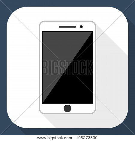 Smartphone Flat Icon With Long Shadow, Vector