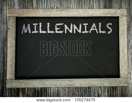Millennials written on chalkboard
