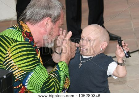 CANNES, FRANCE - MAY 22: Verne Troyer and Terry Gilliam attend the ' Doctor Parnassus' Photocall at the Grand Theatre Lumiere during the 62nd  Cannes Film Festival on May 22, 2009 in Cannes, France