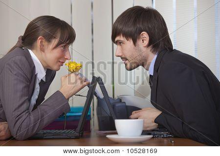 Romantic Scene In Office