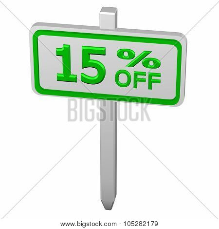 Pillar with sign discount 15 % off isolated on white background. 3D render. poster