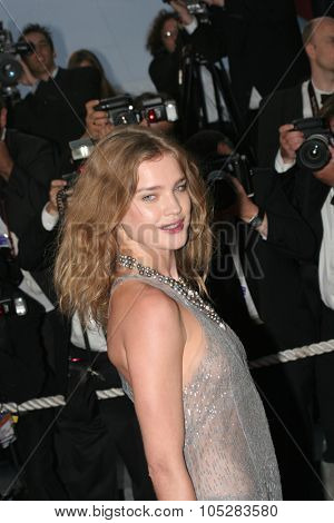 CANNES, FRANCE - MAY 16: Russian model Natalia Vodianova attends a Premier the film 'Joyeux Noel' at the Palais during the 58th International Cannes Film Festival May 16, 2005 in Cannes, France